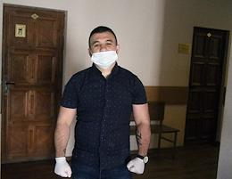 Rostov video blogger Gaspar Avakyan, suspected of extortion, is seen in the Leninsky district court before sentencing.