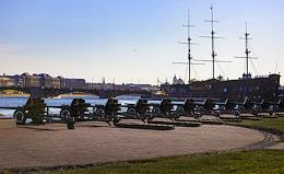 Salute from the Peter and Paul Fortress in honor of the 317th anniversary of St. Petersburg.