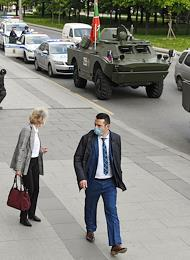 Interregional Public Organization 'Military-Technical Society' celebrates Border Guard Day in Moscow. Column of armored vehicles drove through the city streets.