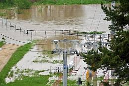 Consequences of a lingering rain caused by the Balkan cyclone. Flooding in Dmitrovsky district of the Moscow Region.
