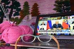 Genre photography. Russian President Vladimir Putin held a videoconference on the situation in the light industry.