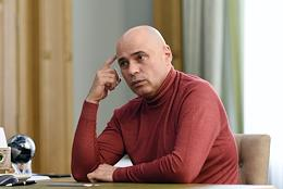 Governor of the Lipetsk Region Igor Artamonov speaks during an interview in his office.