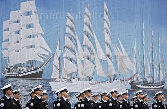 Welcoming of the Kruzenshtern barque and ceremonial formation honoring the end of the voyage in the fishing port of Kaliningrad.