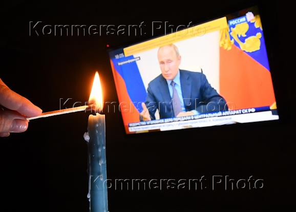 Self-isolation regime caused by the danger of the coronavirus COVID-19 spread. Genre photography. Live broadcast of Russian President Vladimir Putin's videoconference on measures to clean up the diesel fuel spill in the Krasnoyarsk Region.