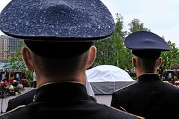 Opening of the memorial to submariners who died in an accident at the nuclear deepwater station (submarine) AS-31 of the Russian Navy in the Barents Sea on July 1, 2019.
