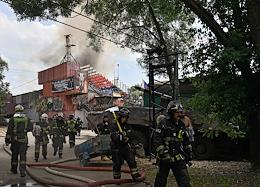 Fire at the warehouse of the Movie Adventure Park Stunt Base.