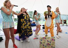 Pajamas Queens Party Picnic with stars at the Vodnik sailing club.