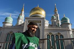 Eid al-Adha (Feast of the Sacrifice) in the Moscow Cathedral Mosque.