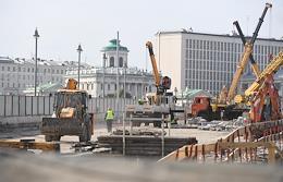 Overhaul of the Bolshoy Kamenny Bridge. Views of Moscow.
