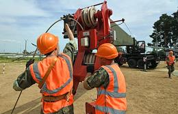 Technical demonstration of a unique piece of equipment of the Railway Troops, the USA-2M Universal Pile-Driving Rig.