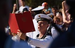 Cadets of the branch of the Joint Training Center of the Navy (School of Divers) take the military oath. The oath is taken by 120 recruits enlisted during the spring 2020 draft from Sevastopol and other cities and towns of the Republic of Crimea after COVID-19 restrictions were lifted.