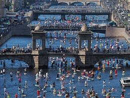 Fontanka-SUP-2020 5th international festival-carnival of paddle boarding enthusiasts.