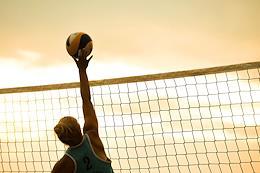 Genre photographs. Beach volleyball training in the Novosibirsk Region.