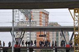 Press tour at the construction site of a section of the North-Eastern Chord near the intersection with the Yaroslavlskoye Highway.