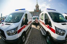 Handover of ambulances to the Ekaterinburg Administration from St. Catherine and Andrei Simanovsky Foundation.