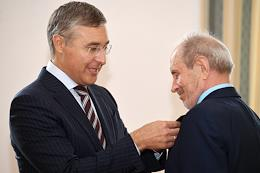 Awarding Ceremony of the 2019 Russian Federation Government Prize in Science and Technology for the development and implementation of mechanisms of restructuring and technological development of the Russian coal industry with the participation of Russian Minister of Science and Higher Education Valery Falkov at the Vernadsky State Geological Museum.