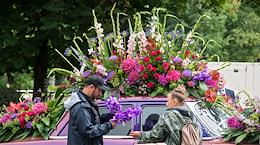 Florists prepare for the International Flower Day in St. Petersburg.