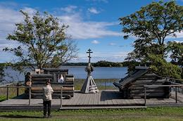 Trip across Karelia. Petrozavodsk and the Kizhi Open Air Museum. Church of the Transfiguration after the restoration of the upper dome. Wooden architecture works.