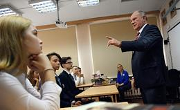 Leader of the CPRF party, Head of the CPRF faction in the Russian State Duma Gennady Zyuganov took part in the celebrations dedicated to the Knowledge Day in the Kosygin Arkhangelsky Secondary School.