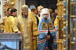 Patriarch of Moscow and All Russia Kirill held the ceremony of elevation to the rank of Metropolitan for Bishop Benjamin, who was elected Metropolitan of Minsk and Zaslavsky, Patriarchal Exarch of All Belarus, on the 13th Week after Pentecost in the Cathedral of Christ the Savior.