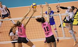 Russian Women's Volleyball Championship. Superleague Parimatch. Match between the Proton (Saratov) and Dynamo-Metar (Chelyabinsk).