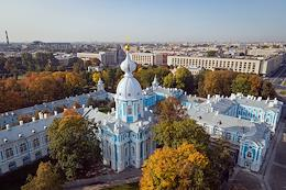 Views of St. Petersburg from the bell tower and dome of the Smolny Cathedral and Holy Cross Day in the Smolny Cathedral. The service was held by rector of the church, Archpriest Pyotr Mukhin.