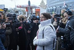 Press conference held by Yulia Galyamina, accused of repeated violations of the rules for holding rallies and pickets, near the building of the Tverskoy District Court.