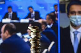 Broadcast of the meeting of Russian President Vladimir Putin with members of the board of the Russian Union of Industrialists and Entrepreneurs (RSPP) via videoconference. Genre photography.