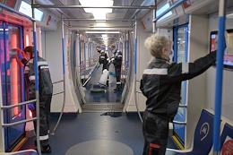 A press tour dedicated to cleaning, quartzing and decontaminating the cars of the Moscow metro and the measures taken to ensure the necessary sanitary condition of the metro.