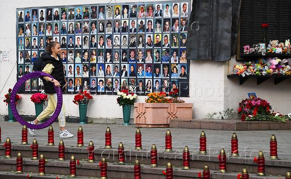 Rally in memory of the Nord-Ost's victims outside the theater center on Dubrovka.