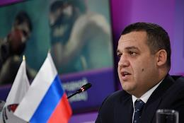 Press conference of the Secretary General of the Russian Boxing Federation and member of the Executive Committee of the International Boxing Association (AIBA) Umar Kremlev at the press center of the Izvestia MIC.