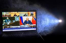 Broadcast of the meeting of Russian President Vladimir Putin with members of the Council for Culture and Arts via videoconference. Genre photography.