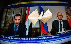 Genre photography. Russian President Vladimir Putin held a teleconference meeting with Syrian President Bashar al-Assad.