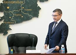Plenipotentiary Representative of the President of Russia in the Urals Federal District Vladimir Yakushev at a press conference.