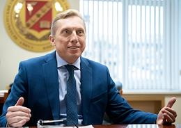 Rector of the University of Management Technologies and Economics Oleg Smeshko during an interview.