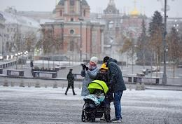 Snowfall in Moscow.