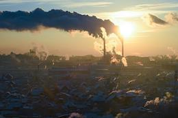 Genre photographs. Novosibirsk views. Frosts in Novosibirsk. The work of factories and thermal power plants, emissions and poor environmental situation in the city.