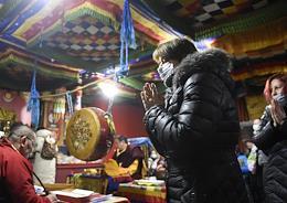 Dugzhuuba rite, a rite of purification, on the eve of the celebration of Sagaalgan (Tsagaan Sar) (Buddhist New Year) at the Rinchin datsan in Novosibirsk.