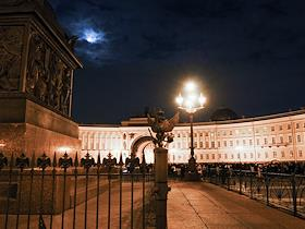 The Earth Hour annual international ecological action of the World Wildlife Fund (WWF). Palace Square, St. Petersburg.