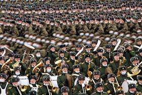 The first joint training of parade crews, crews of military equipment and aircraft crews taking part in the military parade on Red Square on May 9, 2021 (Alabino training ground, Moscow region)