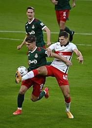 Russian Premier League (RPL). Tinkoff - Russian Football Championship 2020/2021. 25th round. Lokomotiv (Moscow) vs Spartak (Moscow) at the Russian Railways Arena stadium.
