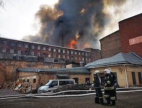 Fire in the Nevskaya Manufactory in St. Petersburg