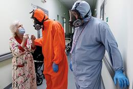 Emergency hospital №7. The red zone with COVID-19 ingected people. Genre photography.