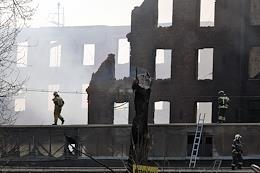 The aftermath of a fire at the Nevskaya manufactory.