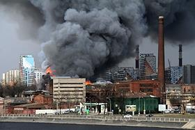 Fire at the Nevskaya Manufactura factory.