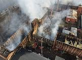 The aftermath of a fire in the Nevskaya Manufactory on Oktyabrskaya Embankment in St. Petersburg