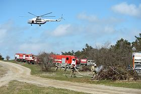 In the Simferopol region, the Emergencies Ministry held exercises to eliminate a forest fire. A special fire regime was introduced on the territory of the Republic of Crimea.