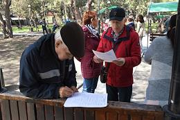 Gathering of local residents who oppose the park development. Construction of a children's Ak Bars camp in the Foros reserve park.