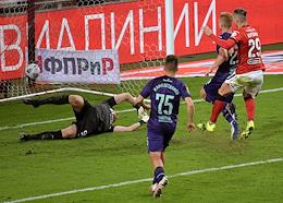 Russian Premier League (RPL). Tinkoff - Russian Football Championship 2020/2021. 26th round. Spartak (Moscow) vs Ufa (Ufa) at the Otkrytie Arena stadium.
