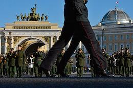 Rehearsal for the Victory Parade on April 19, 2021 at Palace Square.
